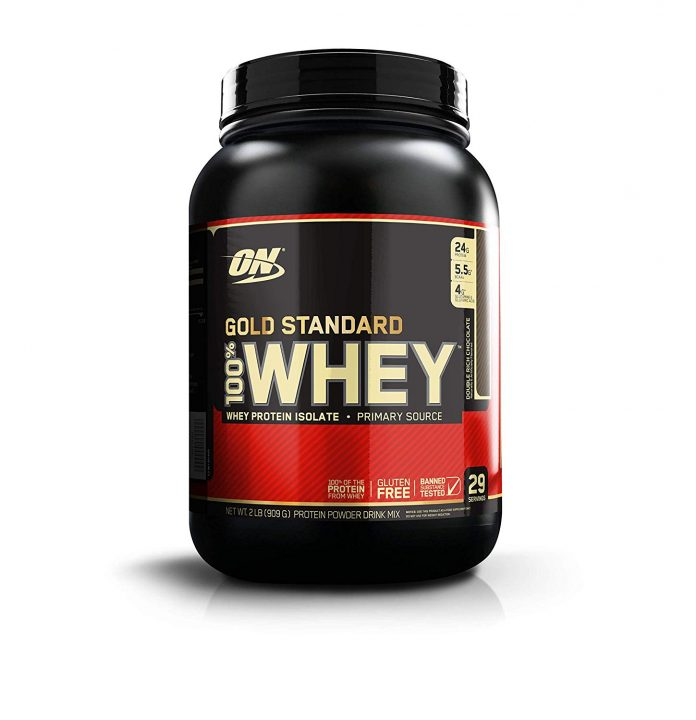 Optimum Nutrition (ON) Gold Standard 100% Whey Protein Powder - 2 lbs, (Double Rich Chocolate) - Health Fitness India