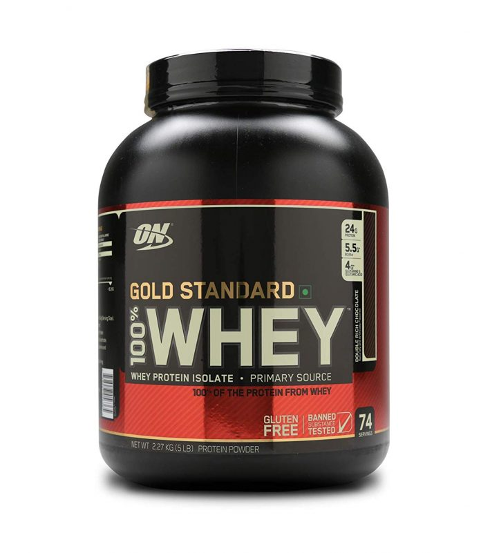 Optimum Nutrition (ON) Gold Standard 100% Whey Protein Powder - 5 lbs, 2.27 kg (Double Rich Chocolate) - Health Fitness India